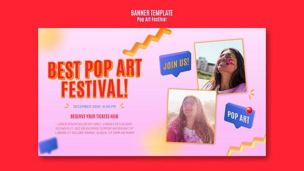Plantilla de banner de festival de arte pop