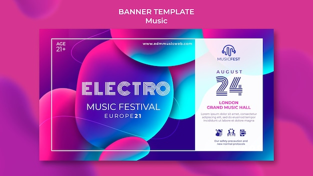 Plantilla de banner para festival de música electro con formas de efecto líquido neón