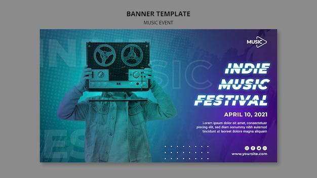 Plantilla de banner de festival de música indie PSD gratuito