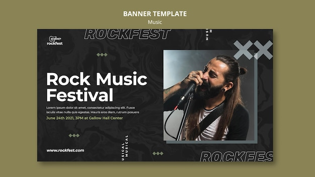 Plantilla de banner de festival de música rock