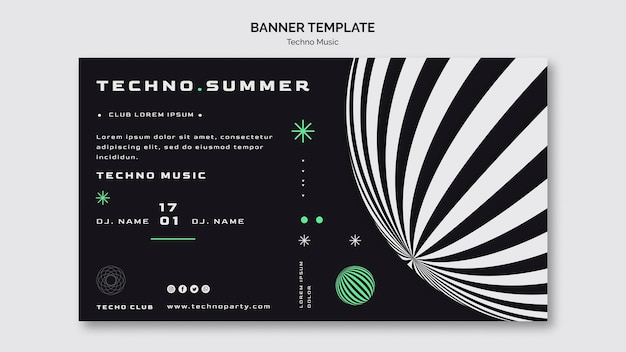 Plantilla de banner de festival de música techno