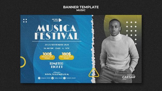 Plantilla de banner de festival de música