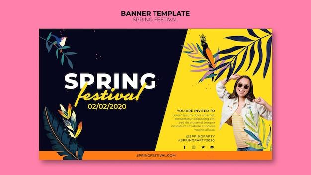 Plantilla de banner de festival de primavera con foto