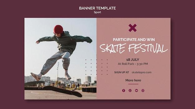 Plantilla de banner de festival de skate