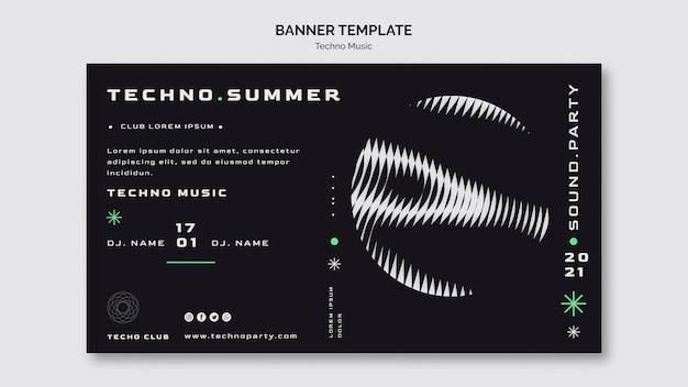 Plantilla de banner de festival de verano de música techno