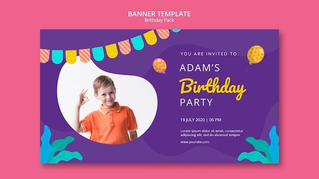 Plantilla de banner con fiesta de cumpleaños