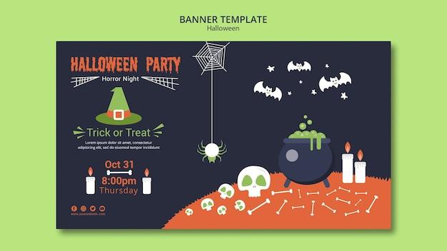 Plantilla de banner de fiesta de halloween con huesos y crisol