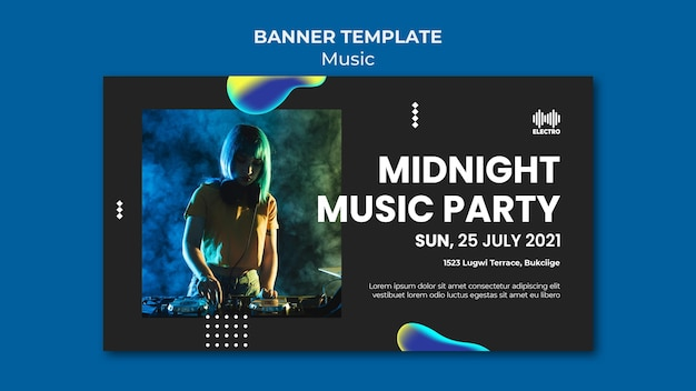 Plantilla de banner de fiesta de música