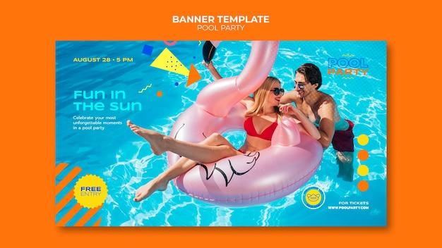 Plantilla de banner de fiesta en la piscina