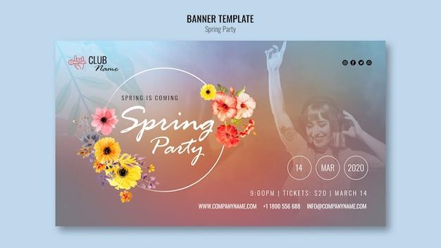 Plantilla de banner de fiesta de primavera con foto