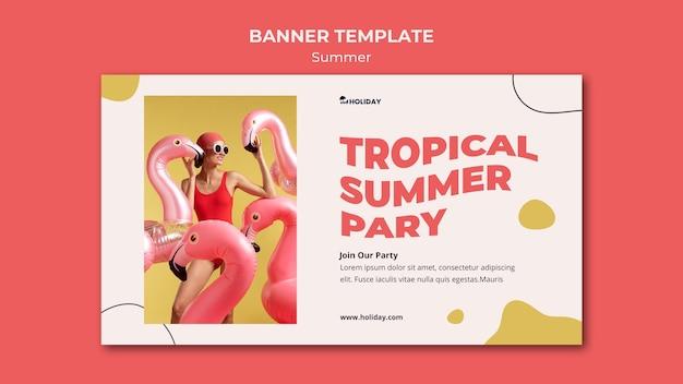 Plantilla de banner de fiesta de verano tropical