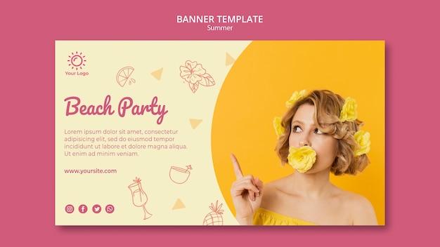 Plantilla de banner con fiesta de verano