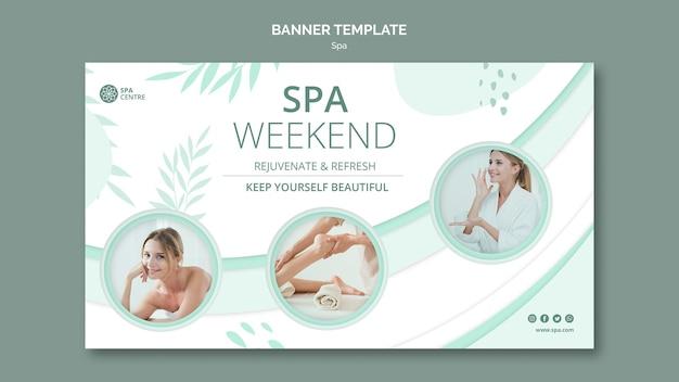 Plantilla de banner de fin de semana de spa femenino joven