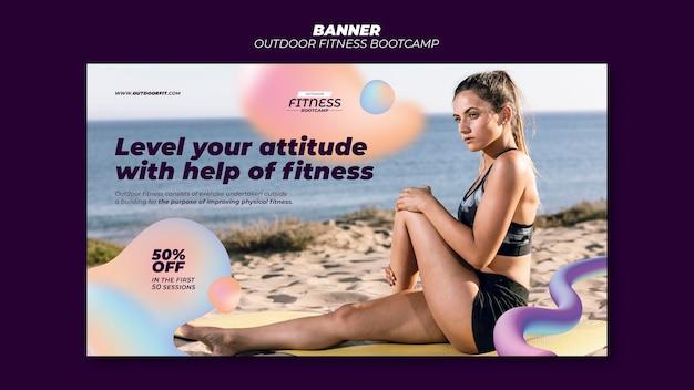 Plantilla de banner para fitness al aire libre