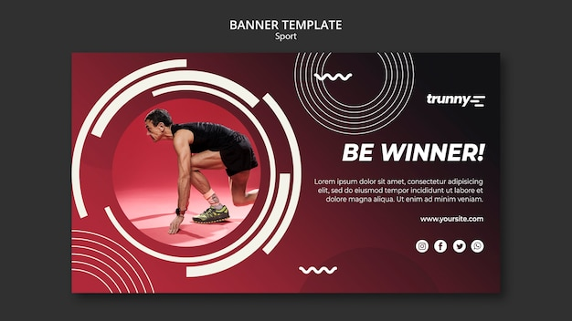 Plantilla de banner para fitness y deporte.