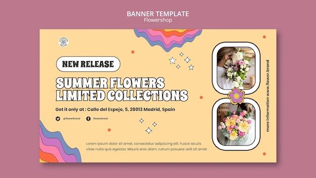 Plantilla de banner de flores de verano