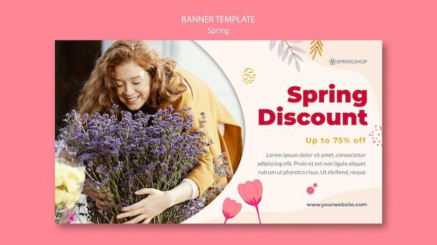 Plantilla de banner para floristería con flores de primavera