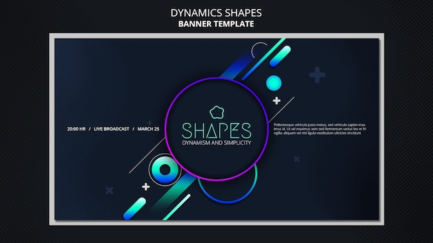 Plantilla de banner con formas de neón geométricas dinámicas