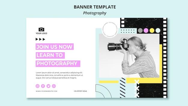 Plantilla de banner de fotografía creativa con foto