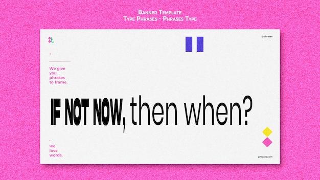 Plantilla de banner para frases tipográficas
