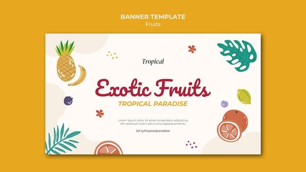 Plantilla de banner de frutas tropicales