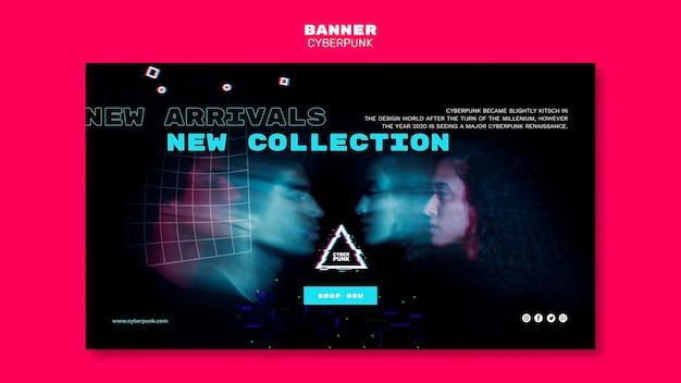 Plantilla de banner futurista cyberpunk con foto