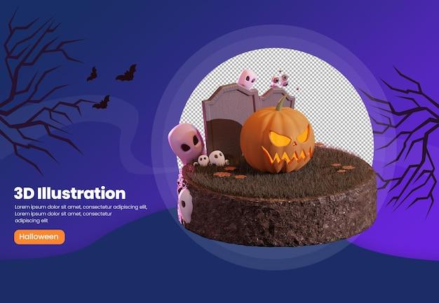Plantilla de banner de halloween de ilustración 3d