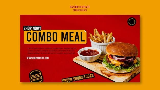 Plantilla de banner de hamburguesa grunge