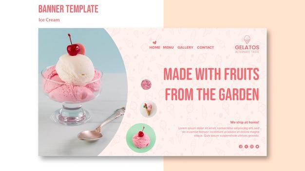 Plantilla de banner de helado delicioso