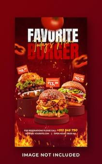 Plantilla de banner de historia de instagram de redes sociales de promoción de menú de comida de hamburguesa