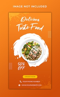Plantilla de banner de historias de instagram de promoción de menú de alimentos saludables