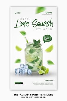 Plantilla de banner de historias de instagram de publicación en redes sociales para menú de comida de restaurante bebida de verano