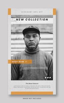 Plantilla de banner de historias de instagram de redes sociales de promoción de venta de moda naranja moderna