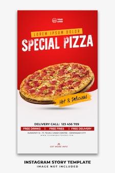 Plantilla de banner de historias de instagram para restaurante menú de comida rápida pizza