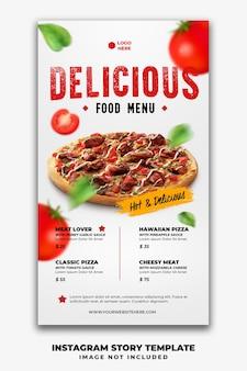 Plantilla de banner de historias de publicaciones de instagram para restaurante de comida rápida menú pizza
