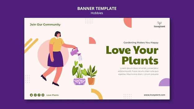 Plantilla de banner de hobby de jardinería