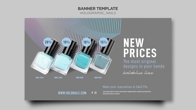 Plantilla de banner de uñas holográficas