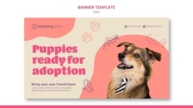 Plantilla de banner horizontal para adopción de mascotas con perro