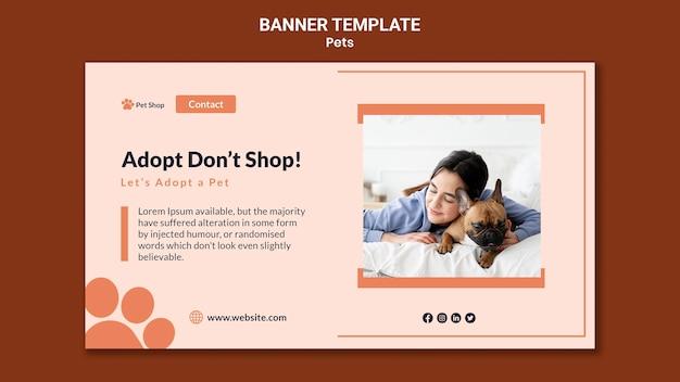 Plantilla de banner horizontal para adopción de mascotas