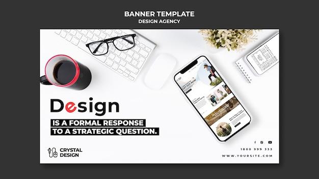 Plantilla de banner horizontal de agencia de diseño