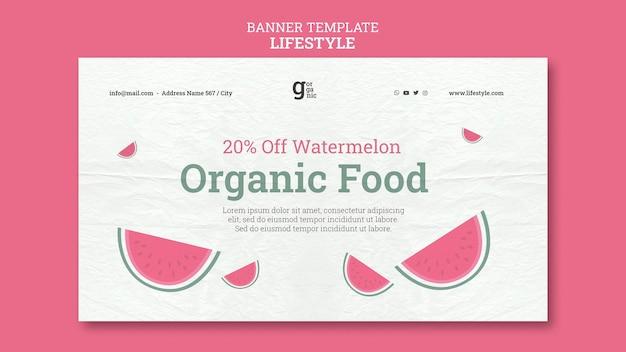 Plantilla de banner horizontal de alimentos orgánicos