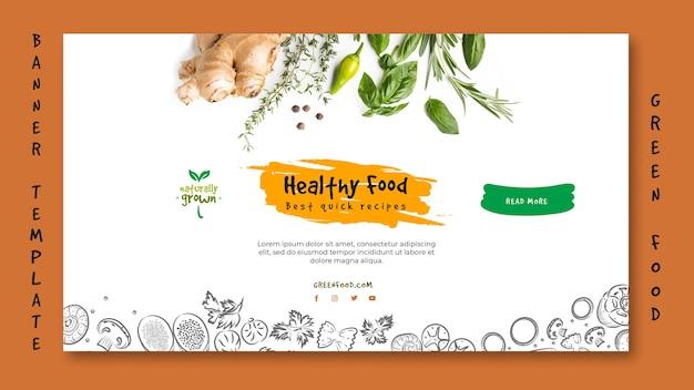 Plantilla de banner horizontal de alimentos saludables