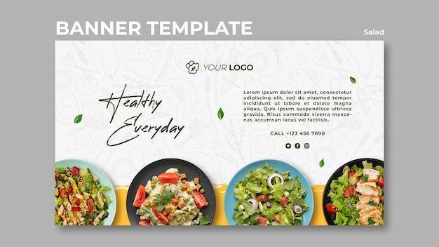 Plantilla de banner horizontal para almuerzo de ensalada saludable