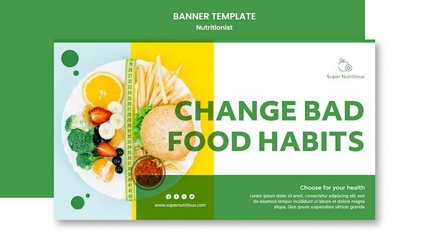 Plantilla de banner horizontal con anuncio nutricionista