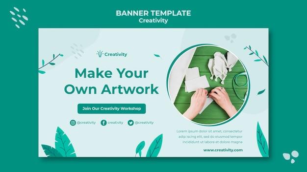 Plantilla de banner horizontal de arte de papel