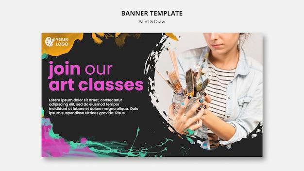 Plantilla de banner horizontal para artistas de dibujo y pintura.