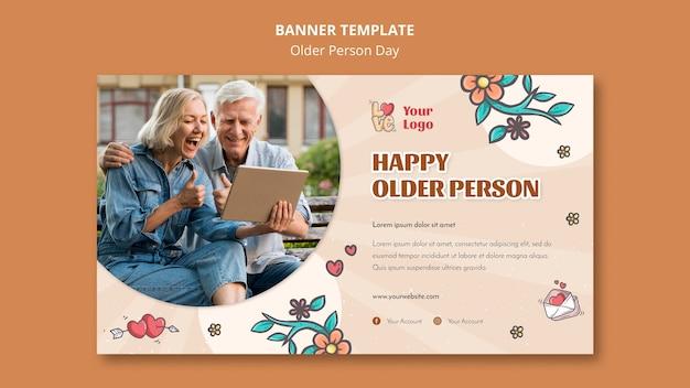 Plantilla de banner horizontal para asistencia y cuidado de personas mayores