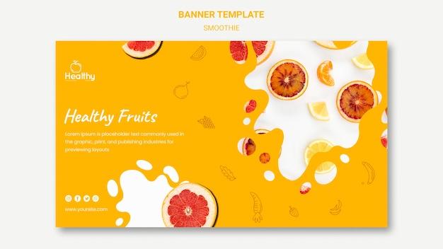 Plantilla de banner horizontal para batidos de frutas saludables