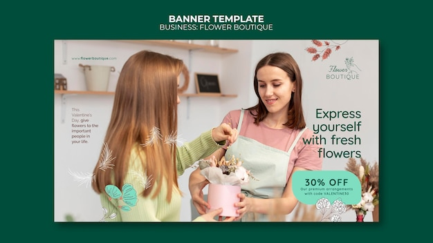 Plantilla de banner horizontal de boutique de flores