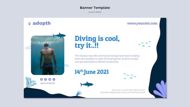 Plantilla de banner horizontal para buceo submarino